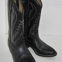 Express Rider  Black Vegan Manmade Cowboy Western Boots Sz 7 (2470) Photo
