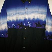 Express Rider Horse Running Cowboy Print Button Shirt Mens Xxl 2xl Photo