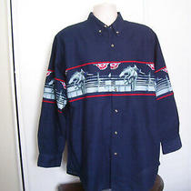 Express Rider Mens Vintage Western Shirt Long Sleeve Large Blue Rodeo Cotton  Photo