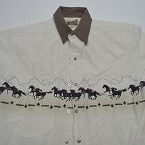 Express Rider Western Pearl Snap Horses Camp Shirt M Medium Photo
