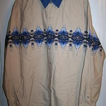 Express Rider Western Southwest Denim Tan Navajo Print Button Shirt Mens Xxl 2xl Photo