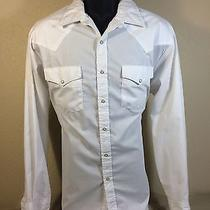 Express Riders Mens L/s Solid White Western Snap Button Down Shirt Size L Euc Photo