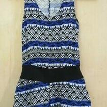 Express Romper Small Blue White Black Aztec Print Banded Belt Shorts Euc Photo