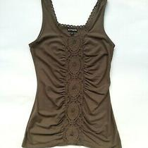 Express Ruched Crochet Square Neck Embroider Tank Top Blouse Olive Army Green Xs Photo