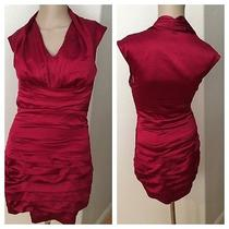 Express Ruched Red Color Dress Straps Sleeveless Cap Sleeve Size 0 Euc Photo