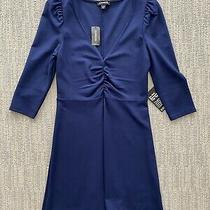 Express Ruffle Dress Blue Xs Photo