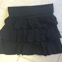 Express Ruffle Skirt Small Black Cotton Mini  Photo