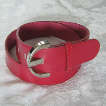 Express S Dark Pink Leather Belt Silver Tone Buckle Made in Italy Photo