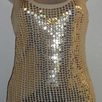 Express S Dress Top Gold Sequin Tank Summer Party Club Vegas Cocktail Shiny Sexy Photo