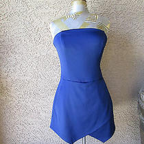 Express Sapphire Blue Strapless Romper 8 Photo