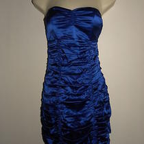 Express Satin Strapless Ruched Corset Dress - 4 Blue New Photo