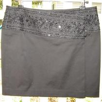 Express Satiny Black Beaded Stretch Wrap Mini Skirt (3/4) New Photo