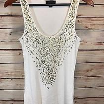 Express Scoop Neck Tank Top 100% Pima Cotton Ivory With Gold Sequins Size M Photo