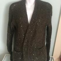 Express Sequin Christmas Cardigan Sweater Olive Army Green Holiday Sparkles S Photo