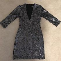 Express Sequin Dress Size 0 Gray Excellent Condition Photo