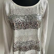 Express Sequin Lace Sweatshirt Top Sweater Silver Rose Gold Gray Small S Photo