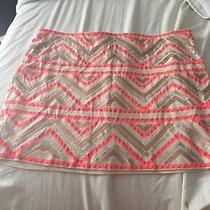 Express Sequin Mini Skirt Ivory and Coral Photo