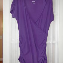 Express Sexy Basic Black Wrap Top Size Large Longer Purple Ruched Shirt  Photo