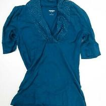 Express Sexy Basic Teal Blouse Women's Shirt Size L Photo