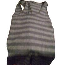 Express Sexy Basic Womens Sz Large Tank Top Black Striped Scoop Neck Pullover  Photo