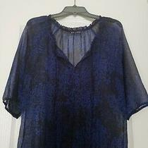 Express Sheer Blue and Black Career Blouse Top Size M Euc  Photo