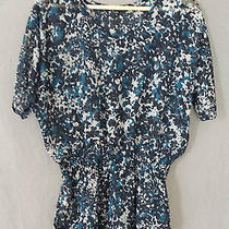 Express Sheer Floral Print Blouse Short Sleeve Size Small Blue Photo