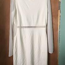 Express Sheer White Dress Long Sleeve Key Whole Back Size 12 Photo