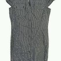 Express Shirt Dress Size 4 Black White Polka Dots Cap Sleeve Cotton Euc 17 Photo