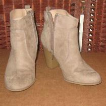 Express Short Ankle Boots 7 M  Faux Suede Booties Tan Beige Photo