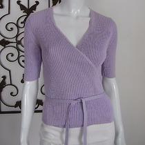 Express Short Sleeve Cardigan Wrap Sweater Size L Lavender  Photo