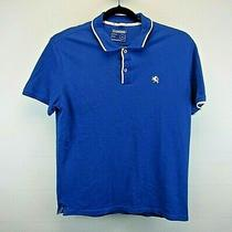 Express Short Sleeve Men's Large Polo Shirt Blue W/white Accents Cotton/spandex Photo