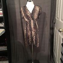 Express Short Sleeve Printed Dress With Tulip Hemline Size Medium  Photo