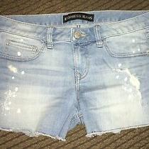Express Shortie Cut Off Distressed Jean Shorts Size 6 Low Rise Denim Photo