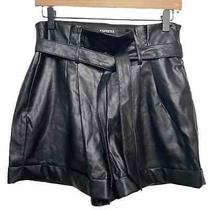 Express Shortie Shorts Extreme High Rise Vegan Leather Black Size 8 Paperbag Photo