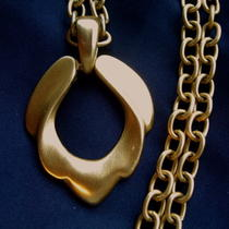 Express Signed Vintage 90's Chic Gold Big Chunky Pendant Necklace Golden 80s 90s Photo