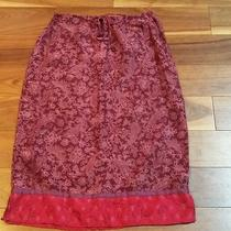 Express Silk Pink Purple Floral Paisly Print Skirt Size 1/2 Multicolor B26 Photo