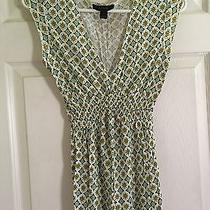 Express Silky Dress Top Vintage Look Green Yellow M Nice Condition Photo