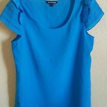Express Silky Tee Top Shirt Blouse Blue Ruffle Cup Sleeves S Photo