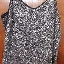 Express Silver and Black Sequin Cami L Photo