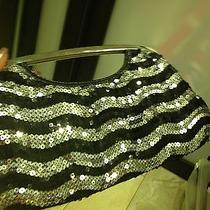 Express Silver Black Sequin Clutch  Photo