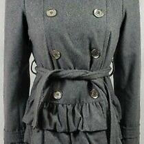 Express Silver Button Gray Double Breasted Fit & Flare Wool Blend Coat Sz Small Photo