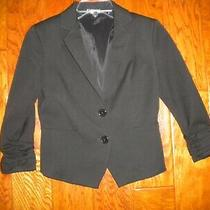 Express Size 0 Black Lined 3/4 Cinched Sleeves Button Women Blazer Photo