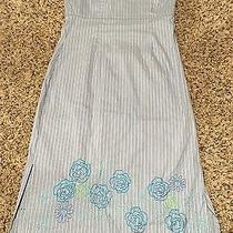 Express Size 4 Blue Stripe Strapless Dress With Corset Back Embroidered Flowers Photo
