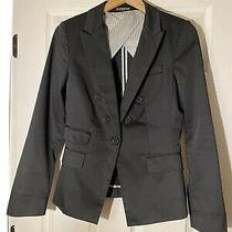 Express Size 6 Blazer Suit Jacket One Button Solid Black Career Stretch  Photo