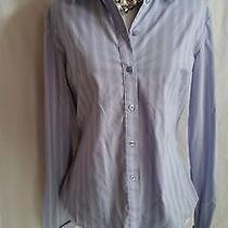 Express Size 6 Blue Striped Button Down Shirt Top Blouse Photo