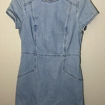 Express Size 6 Denim Jean Dress With Round Neck and Small Slits on Sides Photo