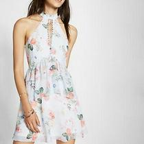 Express Size 8 Floral Print Tiered Fit and Flare Dress Photo