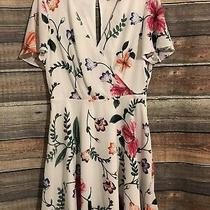 Express Size 8 White Floral Flutter Sleeve Crossover Mini Dress Photo