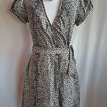 Express Size 8 Wrap Dress Black Gray  Photo