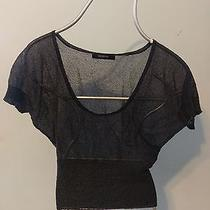 Express Size L Black Mesh Crop Top Short Sleeve Photo